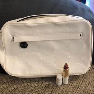 Estée Lauder white makeup bag